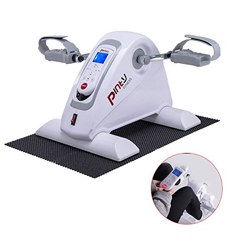 Pinty Compact Motorized Mini Exercise Bike Pedal Exerciser Portable Cycle Lightweight for Arms and Legs with LED Monitor Fitness(White) (White)