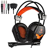 Sades SA921 Lightweight 3.5mm Jack Over Ear Stereo Gaming Headset with Mic and Splitter Adapter for Laptop/PC/MAC / PS4 / Xbox One/Phones (Black/Orange)