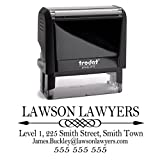 Business Self Inking Stamp Black - Return Address Office Stamper - Custom Personalized Company Address - Large 4 Lines - Professional Company Branding
