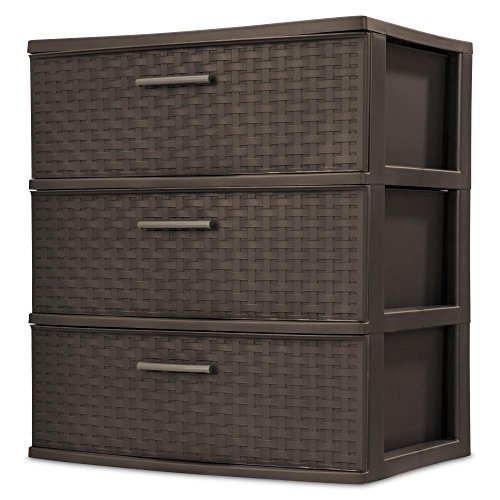 3-Drawer Wide Weave Tower, Espresso