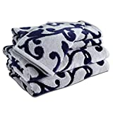Caravalli 5 Piece Towel Set, Chelsea Navy Scuplted Cotton Towel Sets, Best Luxury Soft Spa Towels with 2 Hand Towels and Wash Cloth, Large Thick Blue Patterned Hotel Collection Towel Bundle