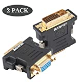 DVI-I to VGA Adapter, Benfei 2 Pack DVI 24+5 to VGA Male to Female Adapter with Gold Plated Cord