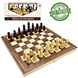 "Wooden Chess Set for Kids and Adults, Folding Chess Board Travel Chess and Checkers Set Game Board Interior for Storage ( 12"" x 12"" )"