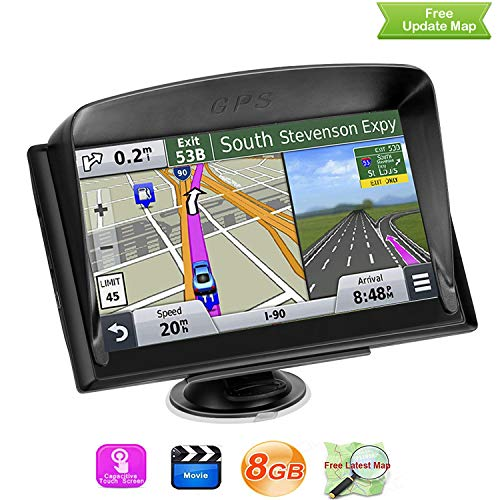GPS Navigation System, LONGRUF 7-inch 8GB Satellite Navigator, Pre-Installed The Latest US 2019 map Lifetime Free Update