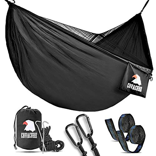 Covacure Camping Hammock with Mosquito Net - Lightweight Double...
