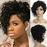 Iusun Short Curly Wigs - Ship From USA,Natural Looking Black Women's Full Haircut Wavy Heat Resistant Synthetic Hair Cosplay Costume Daily Party Anime Hair Wig High Temperature Fiber (Black)
