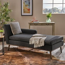 Christopher Knight Home Stormi Mid-Century Modern Fabric Chaise Lounge, Muted Dark Grey / Walnut