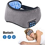 Sleep Headphones Bluetooth 5.0 Wireless Eye Mask - Homder Headphones Travel Sleeping Headband Built-in Speakers Microphone Handsfree Adjustable Washable (Grey)