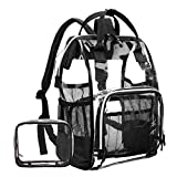 LOKASS Large Clear Backpack Transparent Multi-Pockets Backpacks/Outdoor Backpack Fit 15.6 Inch Laptop Safety Travel Rucksack with Black Trim-Adjustable Straps & Mesh Side(Black)