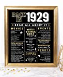 Katie Doodle 90th Birthday Party Supplies Decorations Centerpiece Gifts for Women Men | Includes 8x10 Back-in-1929 Sign [Unframed], BD090, Black & Gold