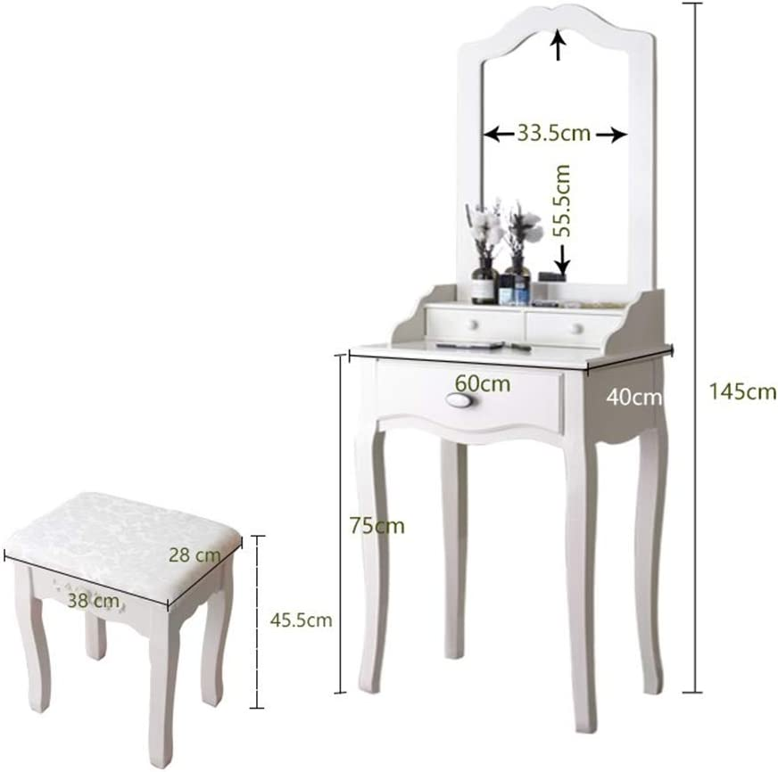 Dressing Table Mirror With Drawers Solid Wood European Mini With Stool Vanity Mirror Princess Korean Style Small Apartment Combination Size B Amazon Co Uk Kitchen Home