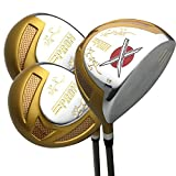 Japan Epron Gold Titanium Driver and 3 5 Fairway USGA R A Rules Golf Club Wood Set+Headcover(Regular Flex,10 15 18 Degree,Grip 0.6,Pack of 3)