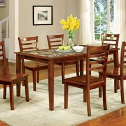 Furniture of America Venice 7 Piece Faux Marble Top Dining Set, Antique Oak