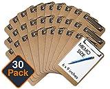 Mini Clipboard 6' x 9' (Set of 30) Memo Clipboard | Small Clipboard | ECO Friendly | Small Clipboards Pack | Mini Clipboards | Low Profile Clip, Classroom Supplies (Pen NOT Included)