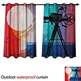 Anshesix Cinema Outdoor Balcony Privacy Curtain Colorful Projector Silhouette with Movie Reel Vintage Design Entertainment Theme W108 x L72(274cm x 183cm)