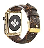 Leather Bands Compatible Apple Watch 42mm 44mm Series 4/3/2/1 Classic Rose Gold Buckle Replacement Strap Wristbands Stainless Steel Adapters (Brown 42mm)