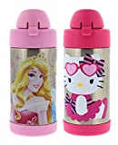Thermos FUNtainer Vacuum Insulated Stainless Steel Kids Drinkware Bottle with Straw, 10 Ounce - Tasteless and Odorless, BPA Free, Great for Children - Disney Princess and Hello Kitty Cupcake (2 Pack)