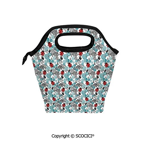 Insulation portable lunch box bag Romantic Elements Flowers Roses Bugs Abstract Pattern in Doodle Style Soft Fabric lunch bag Mummy bag.