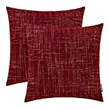HWY 50 Chenille Soft Comfortable Decorative Throw Pillows Covers Set Cushion Cases for Couch Sofa Bed 18 x 18 inch Wine Red Burgundy Pack of 2