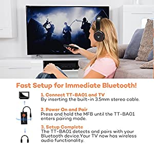 [Updated Version]TaoTronics Wireless Portable Bluetooth Transmitter Connected to 3.5mm Audio Devices, Paired with Bluetooth Receiver, TV Ears, Bluetooth Dongle, A2DP Stereo Music Transmission