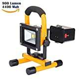 LED Work Light,Portable Outdoor Flood Light and Detachable 4400mAh Battery with Car Charger, Waterproof, 900lm,Yellow