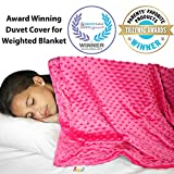 """Weighted Blanket Duvet Cover 48""""x 72"""" - Cooling Bamboo and Soft Minky Dot - Removable Duvet Cover for Hot and Cold Nights - Weighted Blanket Not Included"""