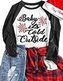Plus Size Baby It's Cold Outside Baseball T-Shirt Women Christmas Snowflake 3/4 Sleeve Raglan Top Tees Size XXXL (Gray)