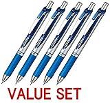 Pentel New EnerGel Deluxe RTX Retractable Liquid Gel Pen,Ultra Micro Point 0.3mm, Fine Line, Needle Tip, Blue Ink Value set of 5 (With Our Shop Original Product Description)