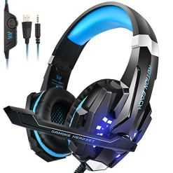 INSMART Gaming Headset for PS4 Xbox One Nintendo Switch PC Laptop Tablet Smartphone, 3.5 mm Surround Sound Wired Gaming Headphones with Microphone G9000 (with 3.5 mm 1 to 2 Jack Adaptors)