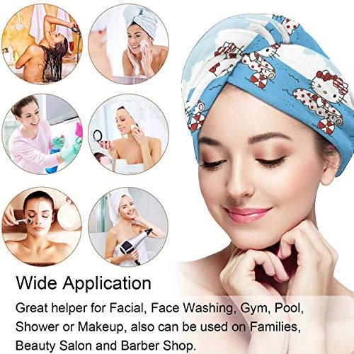 Hair Towel Wrap Turban Hello Kitty Pool Time Microfiber Drying Bath Shower Head Towel With Button, Dry Hair Hat