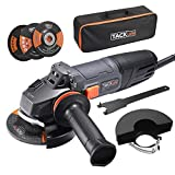 TACKLIFE 8.5Amp Angle Grinder Tool, 4-1/2-Inch Angle Grinder 12000RPM, with Anti-Vibration Handle, 5 Accessories, 1 Storage Bag -- P9AG115