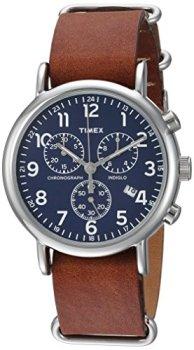Timex Unisex TW2R63200 Weekender Chrono Brown Double-Layered Leather Slip-Thru Strap Watch