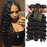 QTHAIR 10A Grade Peruvian Loose Deep Wave Human Hair(16' 18' 20' 22',Natural Black) 100% Unprocessed Peruvian Deep Wave Virgin Hair 400g Peruvian Human Hair
