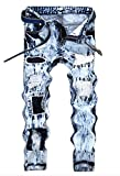 Men's Snow Washed Ripped Slim Fit Jeans Blue 42