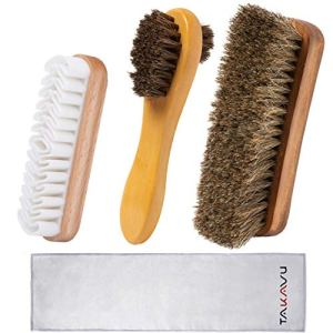 TAKAVU Shoe Shine Kit (4PCS) – 100% Soft Horsehair Bristles Brush, Polish Applicator, Crepe Suede Shoes Brush…