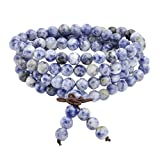 JOVIVI 6mm Natural Sodalite Stone Healing Gemstone 108 Mala Prayer Beads Stretch Bracelet Necklace