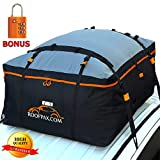 RoofPax Car Roof Bag & Rooftop Cargo Carrier - 19 Cubic Feet Heavy Duty Bag, 100% Waterproof Excellent Military Quality Roof-Top Car Bag - Fits All Cars With/Without Rack - 4 Door Hooks Included