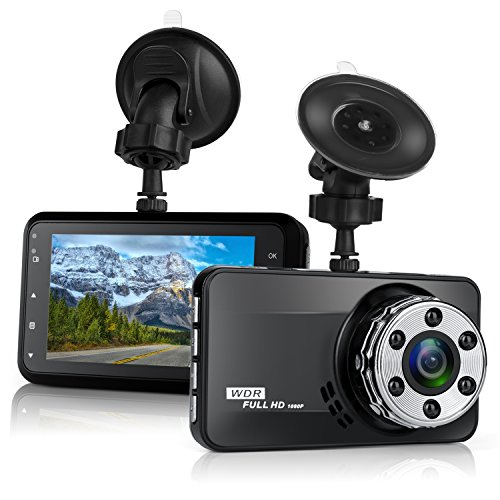 Dash Cam,Bekhic Dash Camera for Cars with Full HD 1080P 170 Degree Super Wide Angle Cameras, 3.0' TFT Display, G-Sensor, Night Vision, WDR, Loop Recording