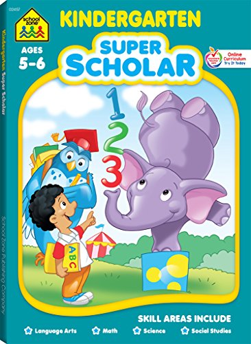 School Zone - Kindergarten Super Scholar Workbook, Ages 5 to 6, Shapes, Colors, Beginning Sounds, Identifying Patterns, and More