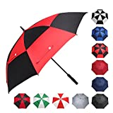 BAGAIL Golf Umbrella 68/62/58 Inch Large Oversize Double Canopy Vented Windproof Waterproof Automatic Open Stick Umbrellas for Men and Women (Black Red, 62 inch)