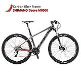 "SAVADECK DECK300 Carbon Fiber Mountain Bike 26""/27.5""/29"" Complete Hard Tail MTB Bicycle 30 Speed Shimano M6000 DEORE Group Set - (Red,27.5x17)"
