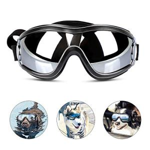 PEDOMUS Dog Sunglasses Dog Goggles Adjustable Strap for Travel Skiing and Anti-Fog Dog Snow Goggles Pet Goggles for Medium to Large Dog 1