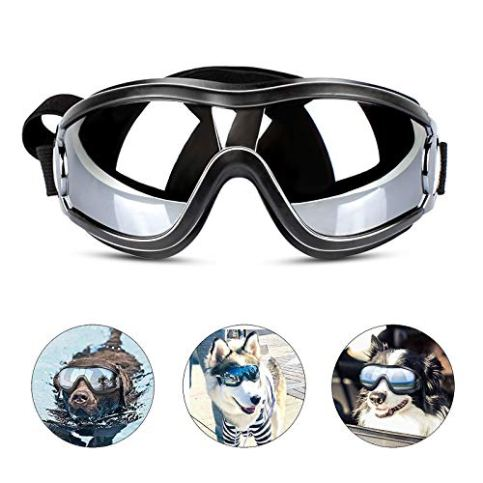 PEDOMUS-Dog-Sunglasses-Dog-Goggles-Adjustable-Strap-for-Travel-Skiing-and-Anti-Fog-Dog-Snow-Goggles-Pet-Goggles-for-Medium-to-Large-Dog