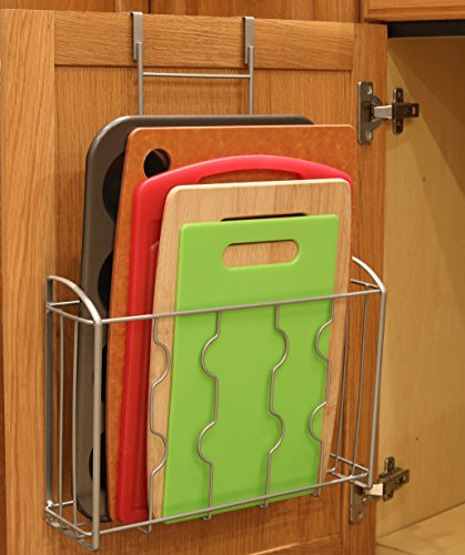 Simplehouseware Over The Cabinet Door Organizer Holder Silver