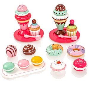Milly & Ted Wooden Dessert Set With Cakes & Ice Creams – Childrens Wood Playfood Toy – Kids Pretend Play Food 51TwkcsVa0L