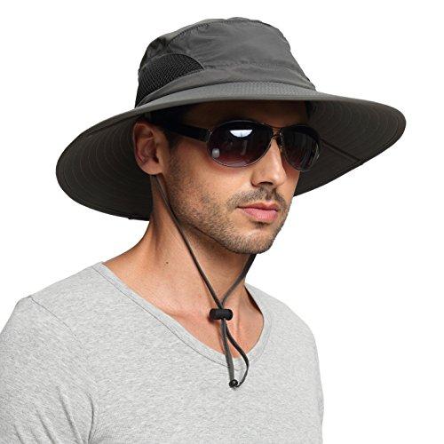 EINSKEY Men's Waterproof Sun Hat, Outdoor Sun Protection Bucket Safari Cap For Safari Fishing Hunting Dark Gray One Size