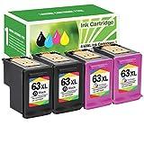 Limeink 4 Remanufactured Ink Cartridge 63XL 63 XL High Yield for Envy 4512 4520 Deskjet 3632 2130 2132 1110 3636 3637 1112 3630 3634 OfficeJet 3830 3833 4650 4652 4655 5255 5258 Printer Black Color
