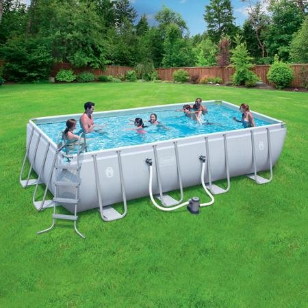 Coleman 18' x 9' x 48' Power Steel Rectangular Frame AboveGround Swimming Pool