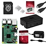 NEEGO Raspberry Pi 3 Complete Starter Kit, Black, 16GB Edition - Pi3 Model B Barebones Computer Motherboard 64bit Quad-Core CPU 1GB RAM, Black Pi3 Case, 2.5A Power Supply, 6FT HDMI Cable, 2 Heat Sink