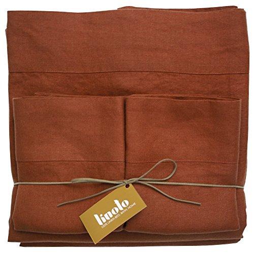 Linoto Luxurious 100% Pure Linen Bed Sheet Set Natural 4 Piece, Queen, Terra Cotta